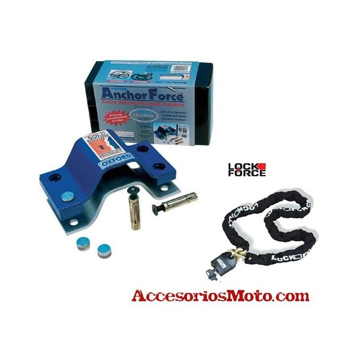 Antirrobo moto anclajes a suelo y cadena lock force de 1 5 metros capa de acero reforzado - Antirrobo moto garaje ...