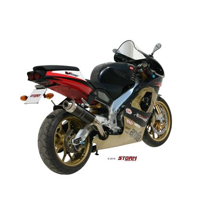 APRILIA RSV 1000 1998 - 2003 SLIP-ON OVAL STEEL BLACK