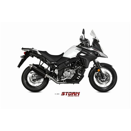 SUZUKI DL V-STROM 650 / XT 2017 - 2020 SLIP-ON OVAL STEEL BLACK