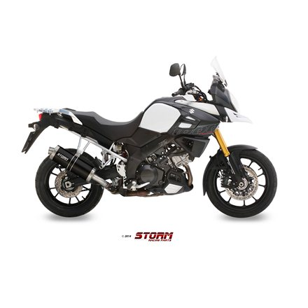 SUZUKI DL V-STROM 1000 / XT 2014 - SLIP-ON OVAL STEEL BLACK